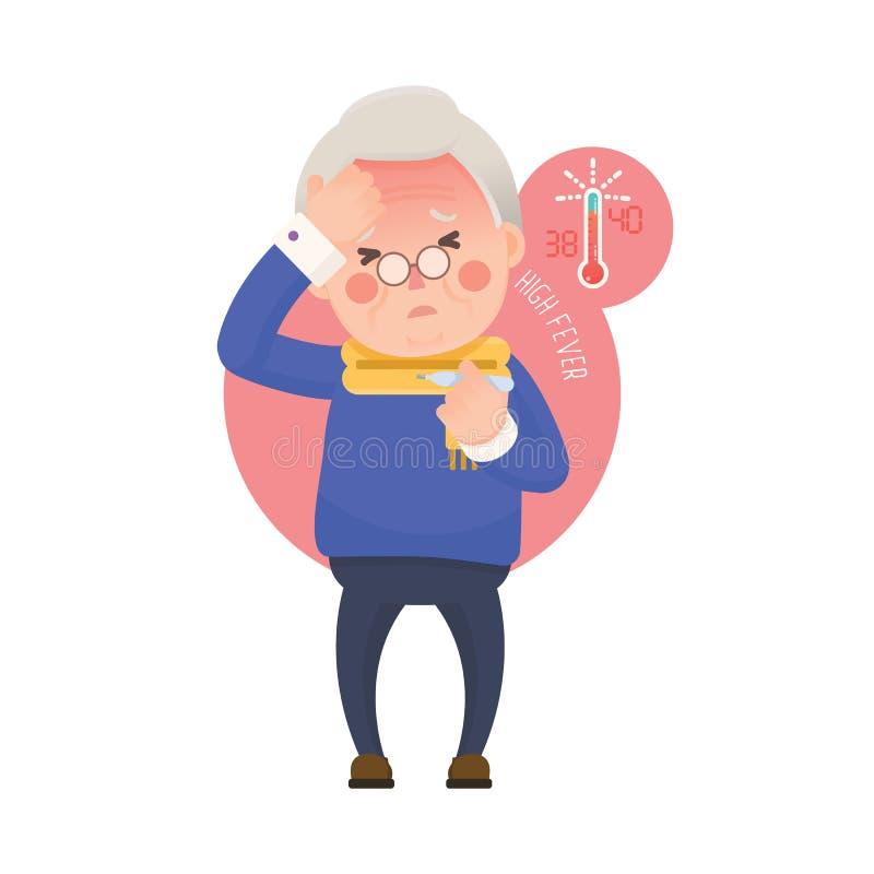 Hombre mayor con fiebre que comprueba el termómetro libre illustration