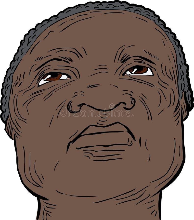 Hombre mayor con la expresión seria que mira para arriba libre illustration