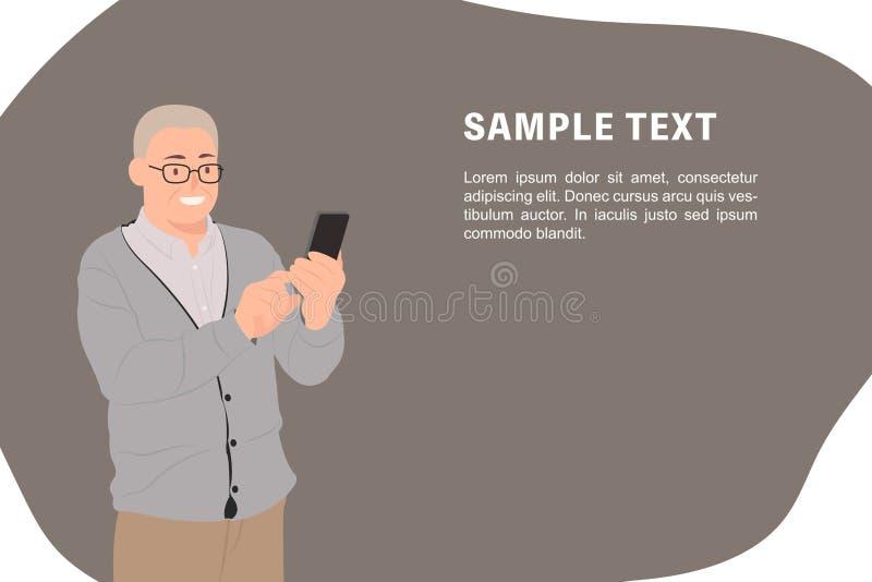 Hombre mayor de la plantilla de la bandera del diseño de carácter de la gente de la historieta viejo que mira el teléfono elegant stock de ilustración