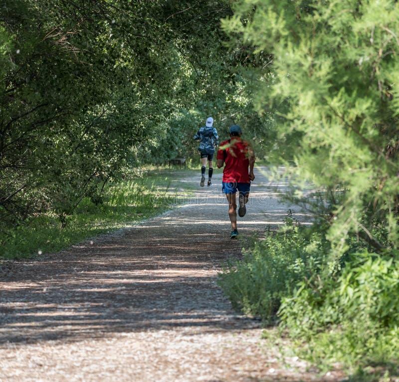 Hombre mayor dos que corre en un bosque imagenes de archivo