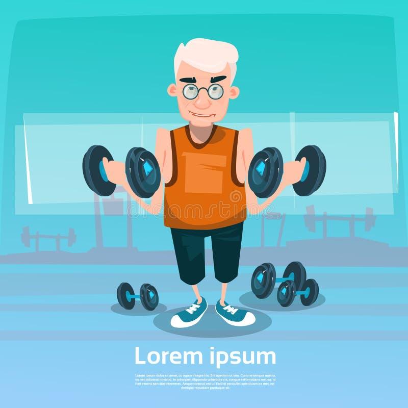 Hombre mayor en entrenamiento de elevación del ejercicio del peso del gimnasio stock de ilustración