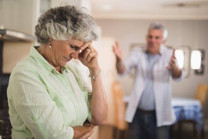 Hombre mayor enojado que grita en mujer mayor fotografía de archivo libre de regalías