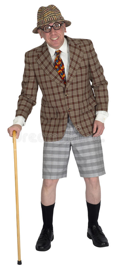 Hombre mayor mayor vestido pozo divertido, aislado imagen de archivo