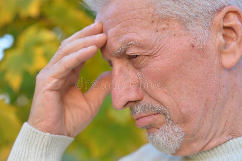 Hombre mayor pensativo en fondo blured del bosque del otoño imágenes de archivo libres de regalías