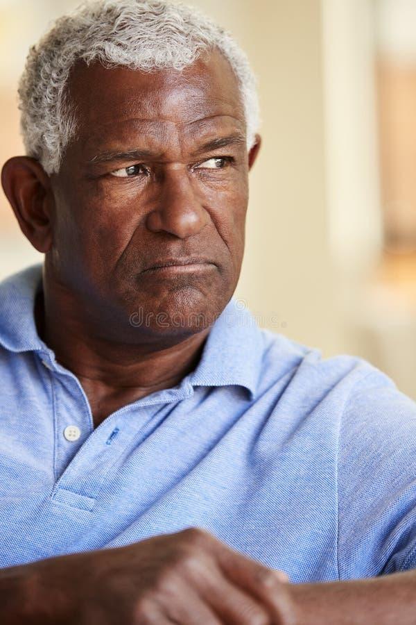 Hombre mayor pensativo que se sienta en Sofa At Home imagen de archivo libre de regalías