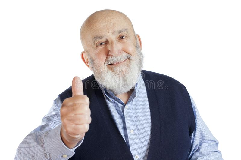 Hombre mayor que da el pulgar para arriba foto de archivo libre de regalías