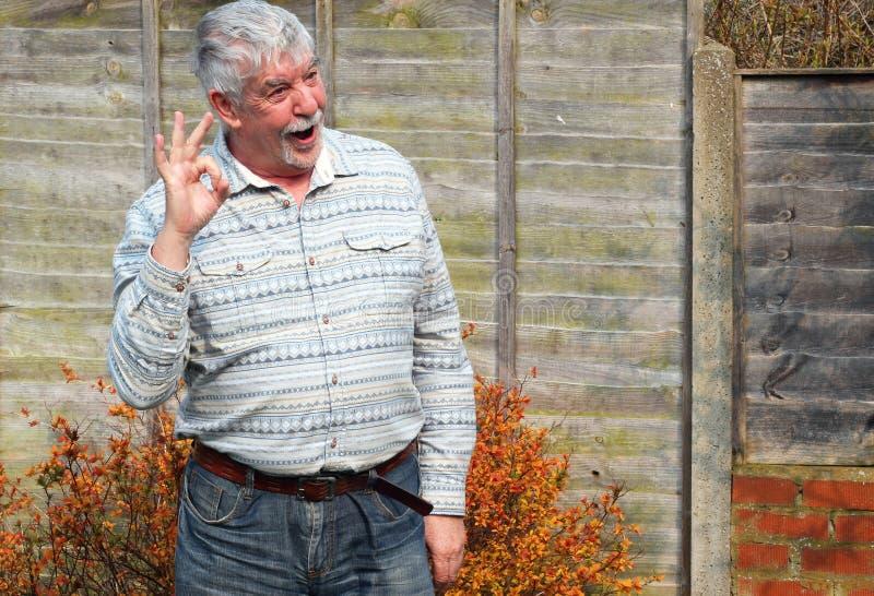 Hombre mayor que da la muestra aceptable. fotos de archivo libres de regalías