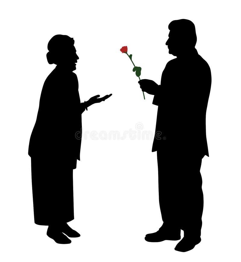 Hombre mayor que da la rosa del rojo a la mujer o a la esposa libre illustration