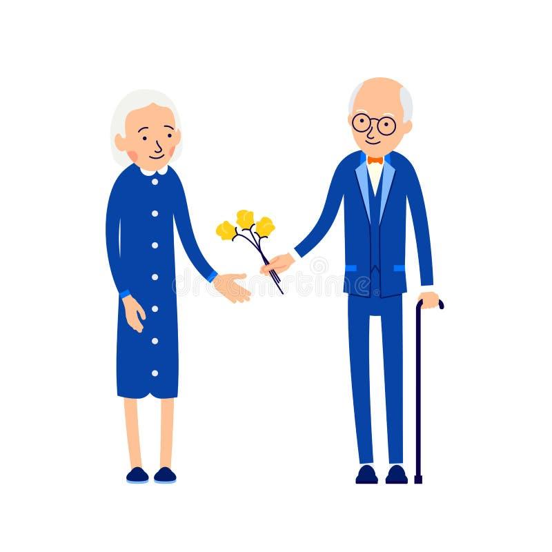 Hombre mayor que da las flores a la mujer Abuelo que da el ramo de f libre illustration