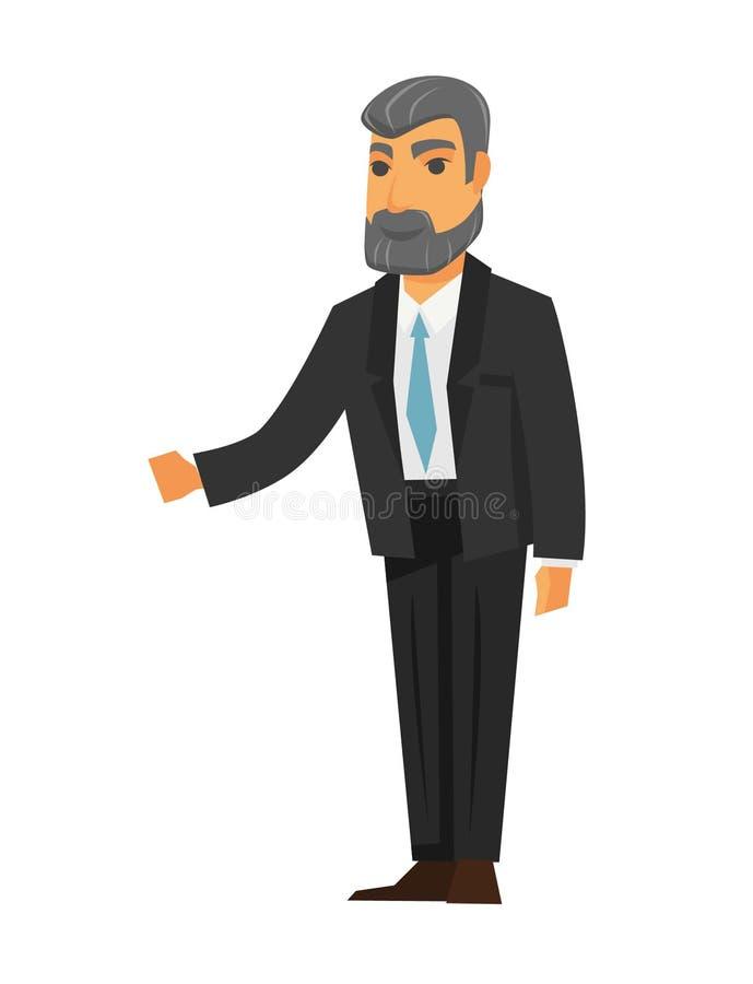 Hombre mayor que da su puerta de la mano o de abertura libre illustration
