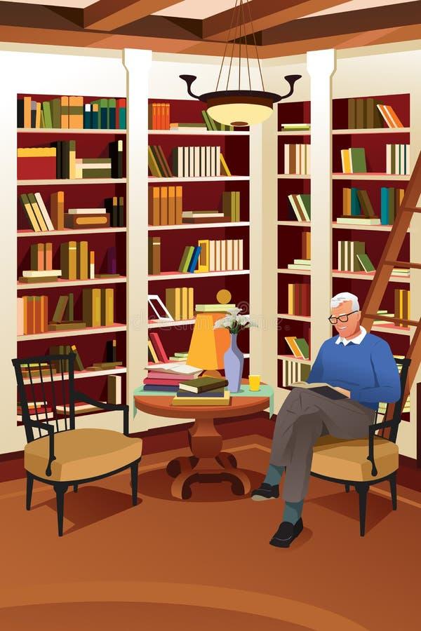 Hombre mayor que lee un libro en la biblioteca ilustración del vector