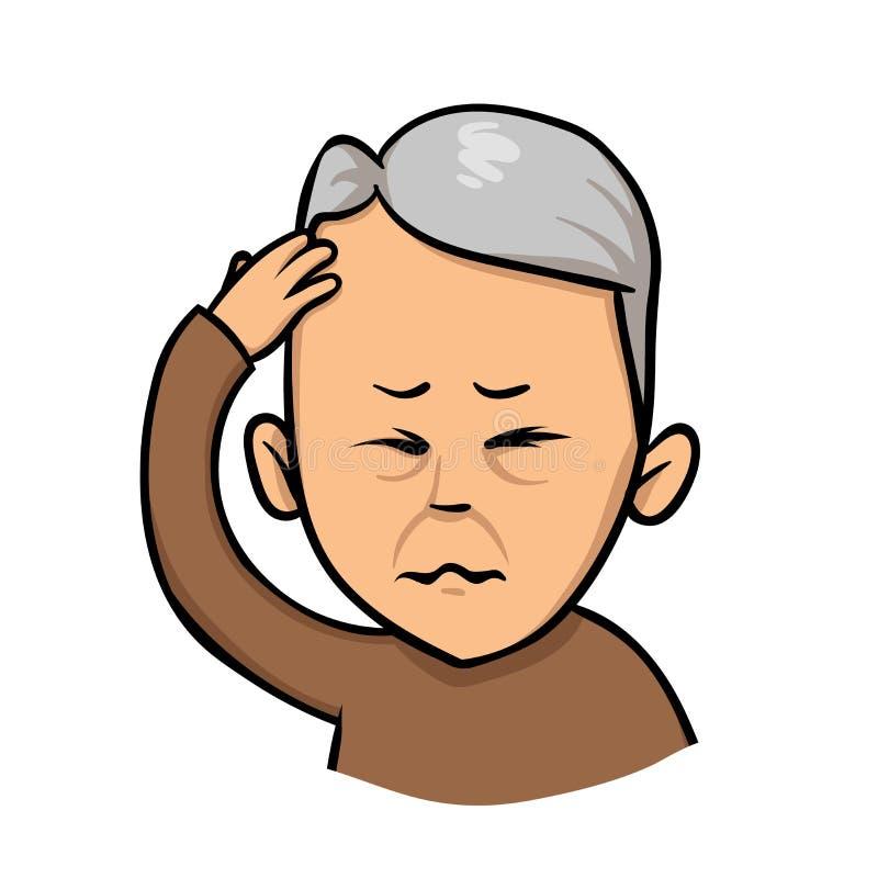 Hombre mayor que lleva a cabo la mano a su cabeza Falta de memoria, dolor de cabeza Ejemplo plano del vector Aislado en el fondo  stock de ilustración