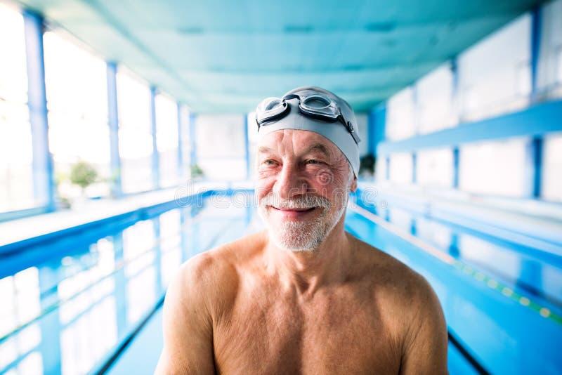 Hombre mayor que se coloca en una piscina interior imagen de archivo libre de regalías