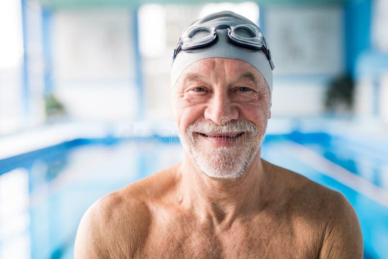 Hombre mayor que se coloca en una piscina interior imagenes de archivo