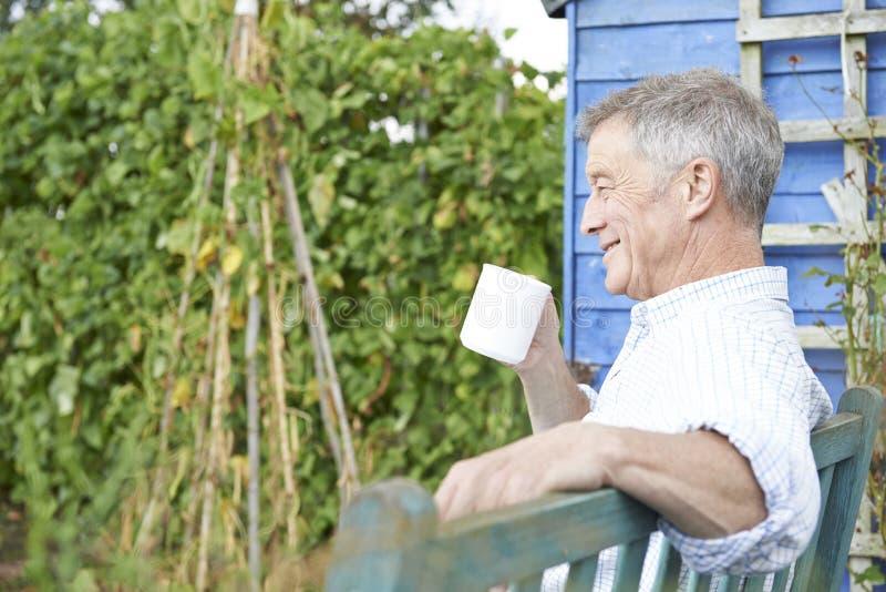 Hombre mayor que se relaja en jardín con la taza de café foto de archivo libre de regalías