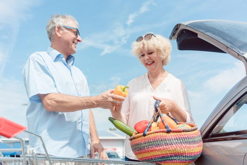 Hombre mayor que sostiene un carro de la compra mientras que mira su ingenio de la esposa fotos de archivo libres de regalías