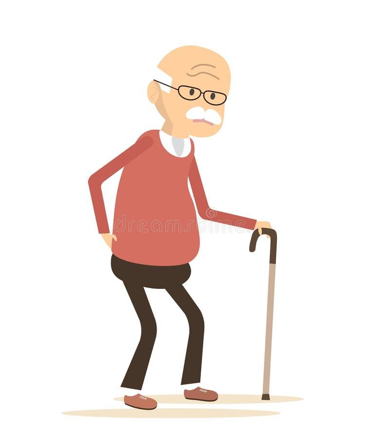 Hombre mayor que sufre de dolor de espalda libre illustration