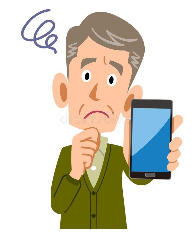 Hombre mayor que tiene problema que sostiene un smartphone ilustración del vector