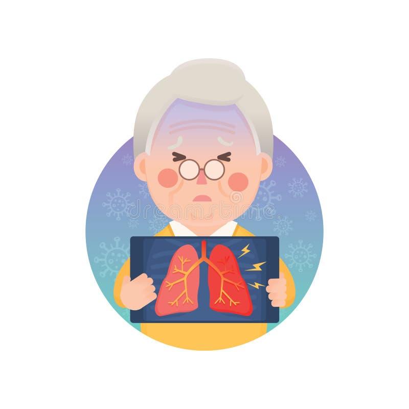 Hombre mayor que tiene pulmón de la inflamación libre illustration
