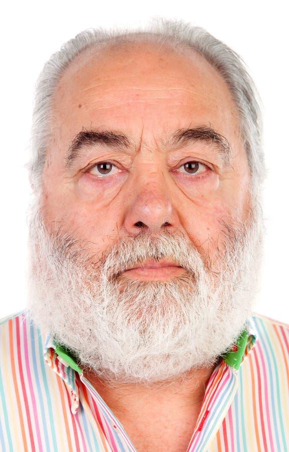 Hombre mayor serio con la barba blanca fotos de archivo