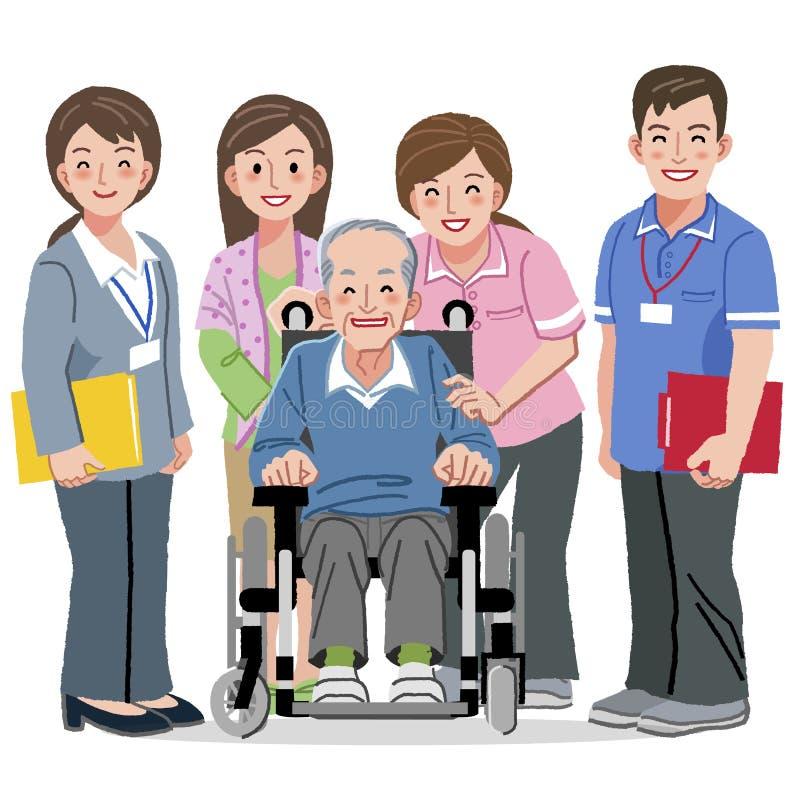 Hombre mayor sonriente en silla de ruedas y cuidadores de cuidado ilustración del vector