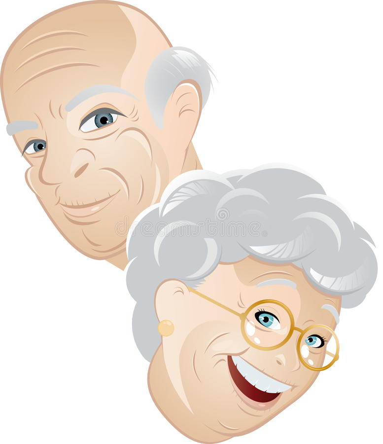 Hombre mayor y mujer libre illustration
