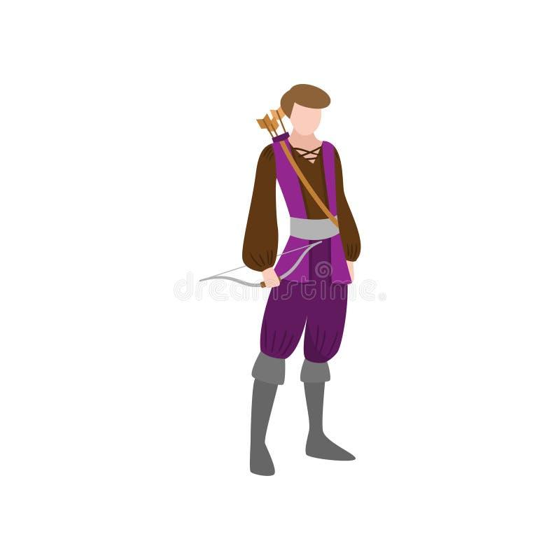 Hombre medieval del arquero del castillo en la ropa vieja violeta stock de ilustración