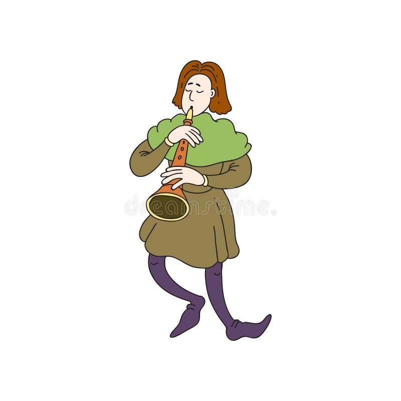 Hombre medieval del músico del castillo con la trompeta larga en ropa verde stock de ilustración