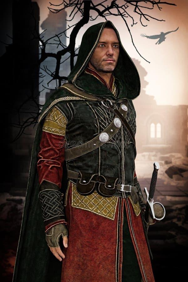 Hombre medieval en un castillo arruinado ilustración del vector