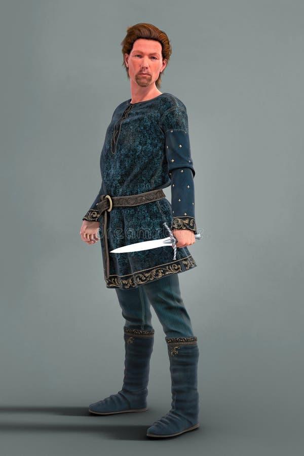Hombre medieval fuerte enérgico del cgi que sostiene una daga y que mira a la cámara libre illustration