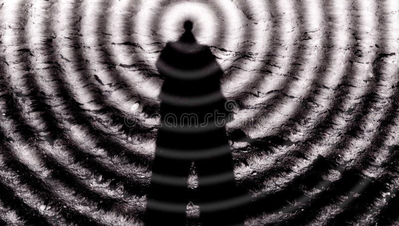 Hombre-mente, telepatía, el tercer ojo y capacidades paranormales, habilidades de la yoga, vudú del horror, estupendo-fuerza imágenes de archivo libres de regalías
