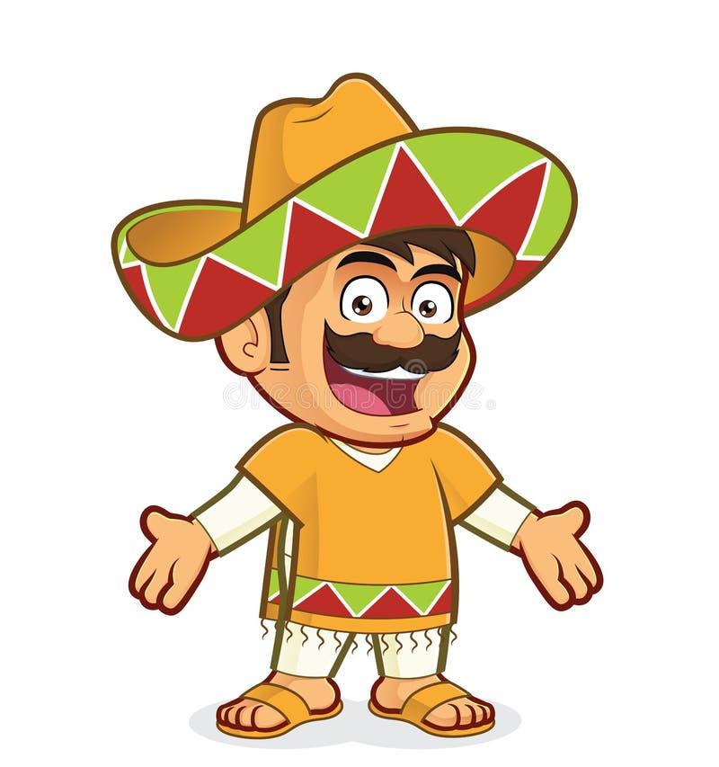 Hombre mexicano en gesto que da la bienvenida stock de ilustración