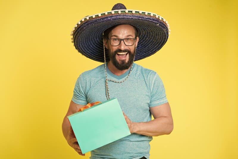 Hombre mexicano en sombrero del sombrero Party el tiempo Manera masculina Inconformista cauc?sico brutal con el bigote Inconformi foto de archivo libre de regalías