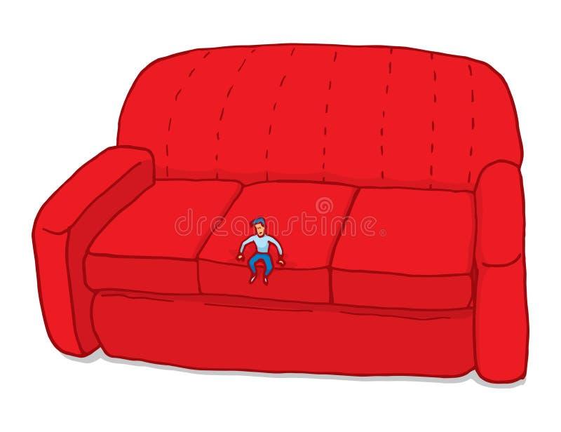 Hombre minúsculo que siente pequeño en el sofá libre illustration