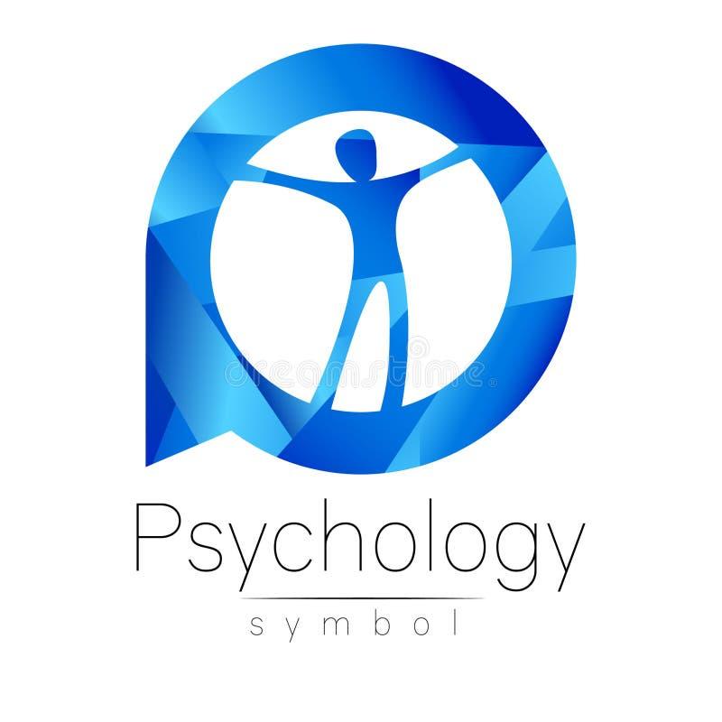 Hombre moderno Logo Sign de psicología Ser humano en un círculo Estilo creativo stock de ilustración