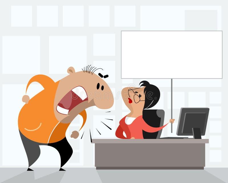 Hombre molestado en oficina stock de ilustración
