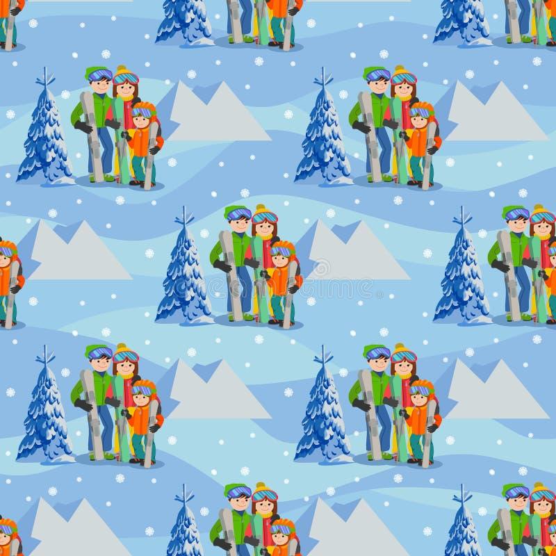 Hombre, mujer, muchacho, esquiando en montaña de la nieve Ejemplo del vector del deporte de invierno de la familia Modelo inconsú ilustración del vector