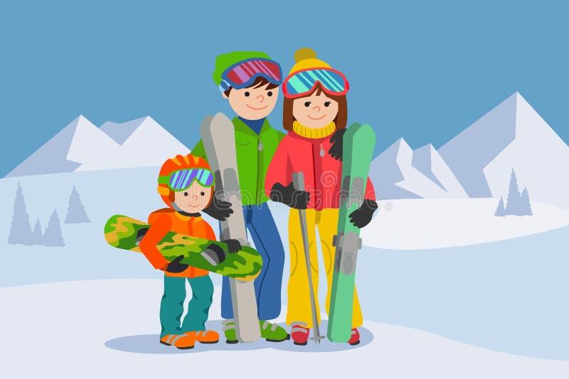 Hombre, mujer, muchacho, esquiando en montaña de la nieve Ejemplo del vector del deporte de invierno de la familia stock de ilustración