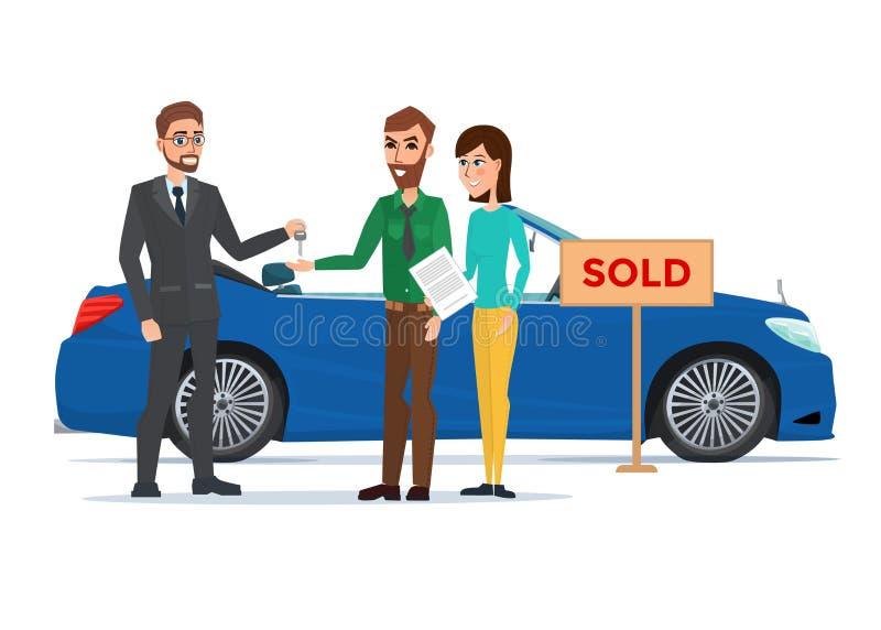 Hombre, mujer y concesionario de coches Vector del concepto de la historieta del negocio ilustración del vector