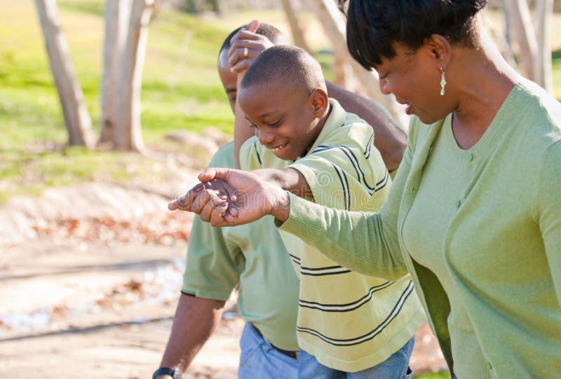 Hombre, mujer y niño felices del afroamericano fotos de archivo libres de regalías