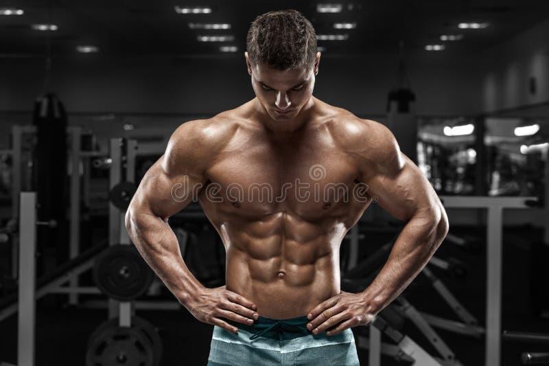 Hombre muscular atractivo en el gimnasio, abdominal formada ABS desnudo masculino fuerte del torso, resolviéndose imagen de archivo libre de regalías