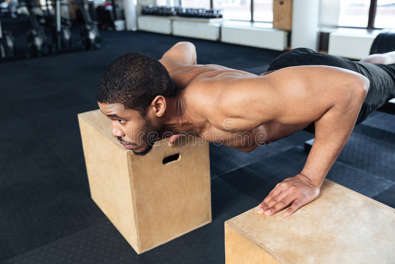 Hombre muscular de la aptitud que hace pectorales en el gimnasio fotos de archivo libres de regalías