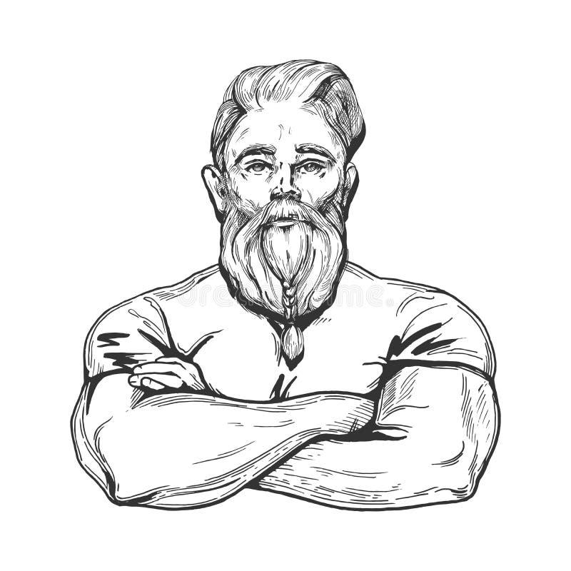 Hombre muscular fuerte stock de ilustración