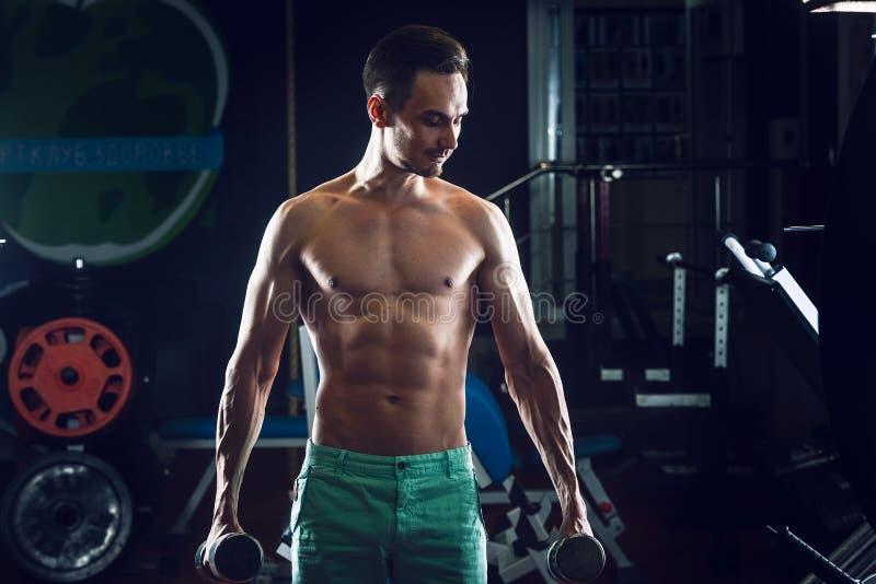 Hombre muscular fuerte con ABS desnudo del torso que se resuelve en el gimnasio que hace ejercicios con el dumbell en el bíceps fotos de archivo