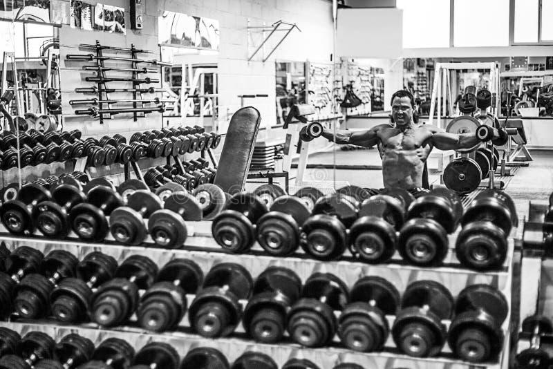 Hombre muscular que ejercita en gimnasio imagen de archivo