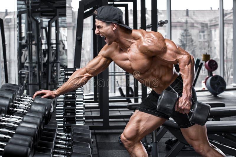 Hombre muscular que se resuelve en el gimnasio que hace los ejercicios para la parte posterior Sola fila de la pesa de gimnasia d foto de archivo