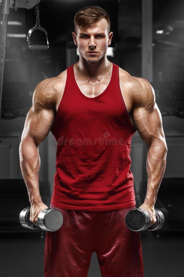 Hombre muscular que se resuelve en el gimnasio que hace los ejercicios, varón fuerte imagen de archivo
