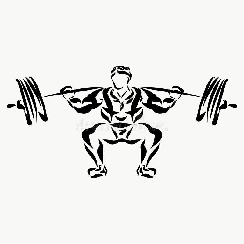 Hombre muscular, weightlifter, barbell de elevación ilustración del vector