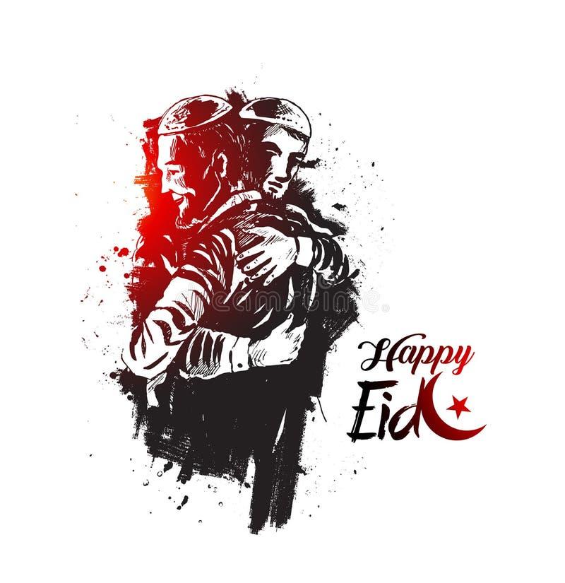 Hombre musulmán que abraza y que desea el uno al otro de vez en cuando de Eid ilustración del vector