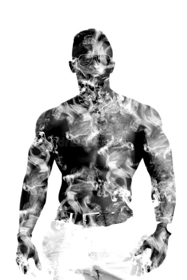 Hombre negro de la exposición doble con un torso desnudo, sin una camisa Modelo de la aptitud, cuerpo muscular Aislado en el fond ilustración del vector